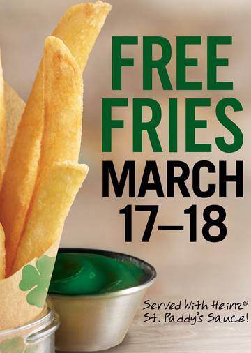 St. Patrick's Day -- Free fries at Burger King