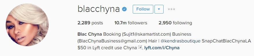 Blac Chyna Instagram bio