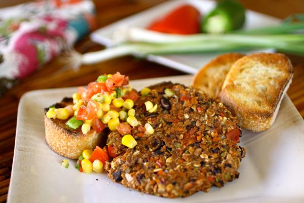 black bean veggie burger with corn salsa