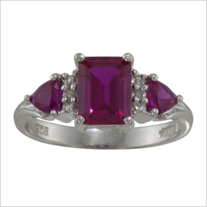 Gemstone rings with Diamond Accents in Sterling Silver