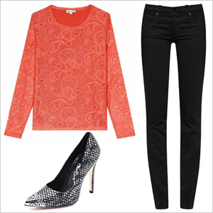 Black and orange for a girls' night out