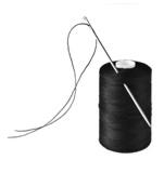 Black spool of thread with needle