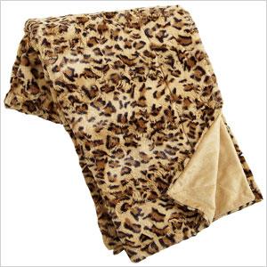 Fuzzy leopard throw
