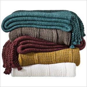 Knit-tassle throw