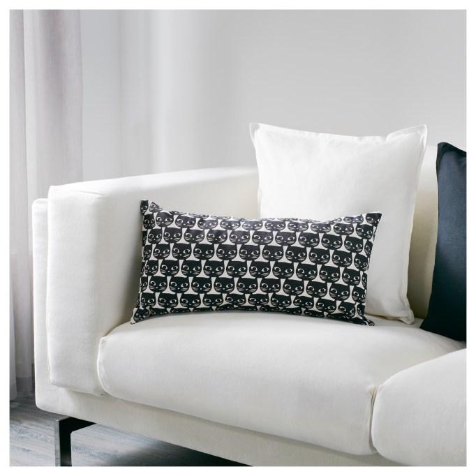 Halloween Decor at IKEA: Black cats dot this festive Halloween cushion
