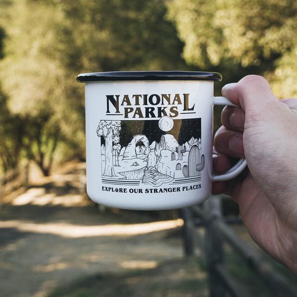 National parks stranger places enamel mug