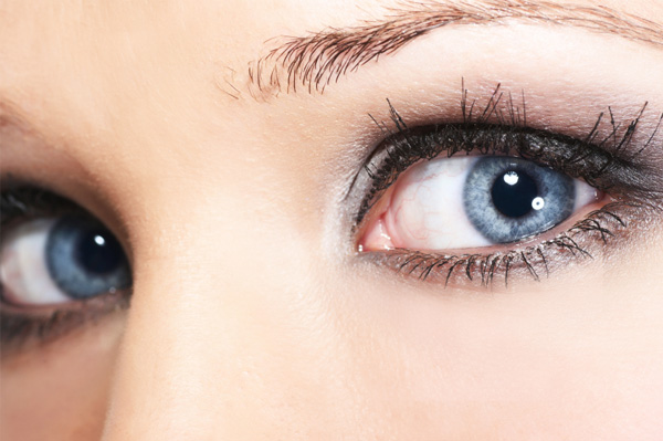 Blue eyes with silver eyeshadow