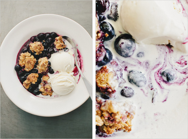 Blueberry oat biscuit cobbler