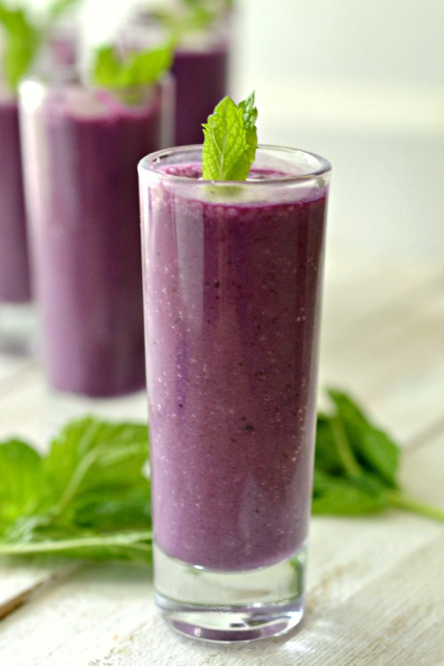 Blueberry soup shooters with minty whipped cream recipe