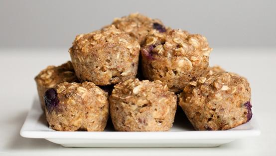 Healthy blueberry oatmeal mini muffins