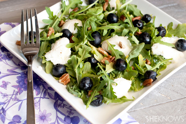 Summer blueberry salad with ricotta and pecans