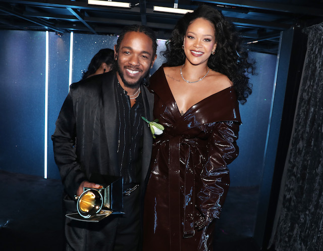 Kendrick Lamar and Rihanna pose during the 60th Annual Grammy Awards