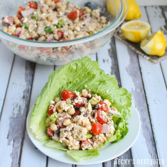 Mediterranean tuna lettuce wraps from Becky's Best Bites