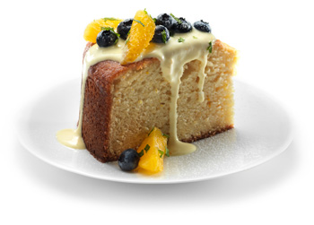 Orange Cornmeal Cake with Orange Custard Sauce and Orange-Blueberry Salad