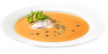 Creamy Pumpkin Soup with Cinnamon Crèma and Roasted Pumpkin Seeds
