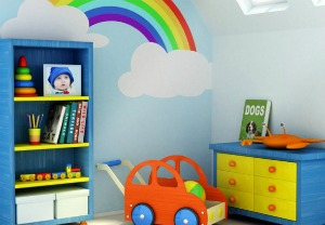 Bookcase in kids' room