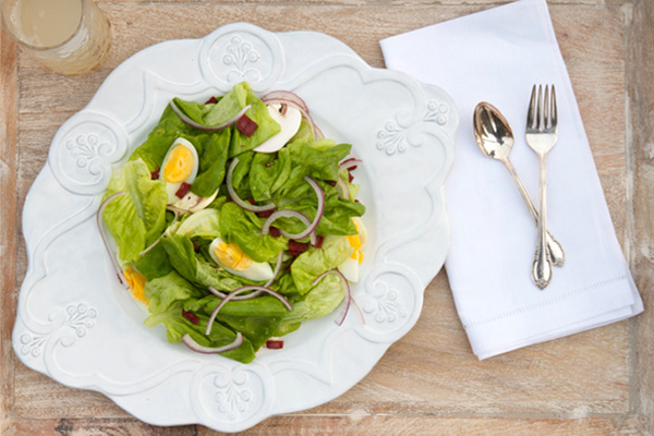 Boston lettuce salad with warm bacon vinaigrette