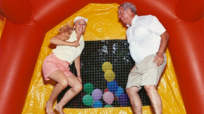 Giant bouncy castle for adults opens