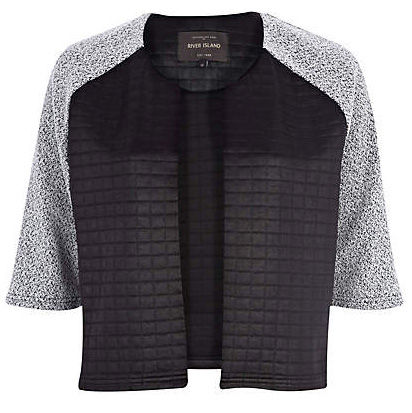 Black Quilted Sleeve Boxy Jacket
