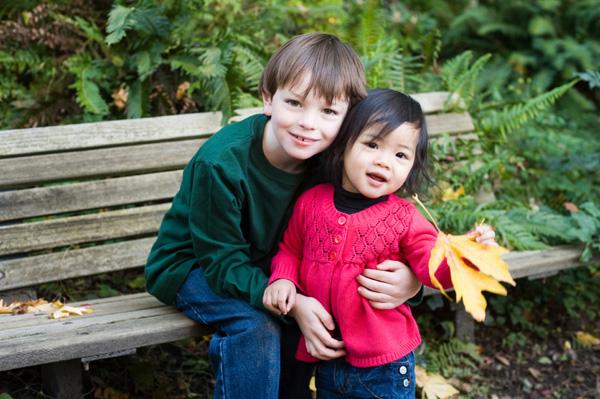 Boy and adoptive sister