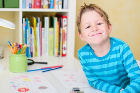 Boy in homework nook