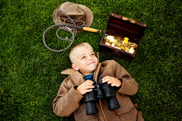 Boy on treasure hunt