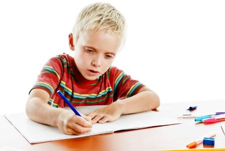 Boy practicing handwriting