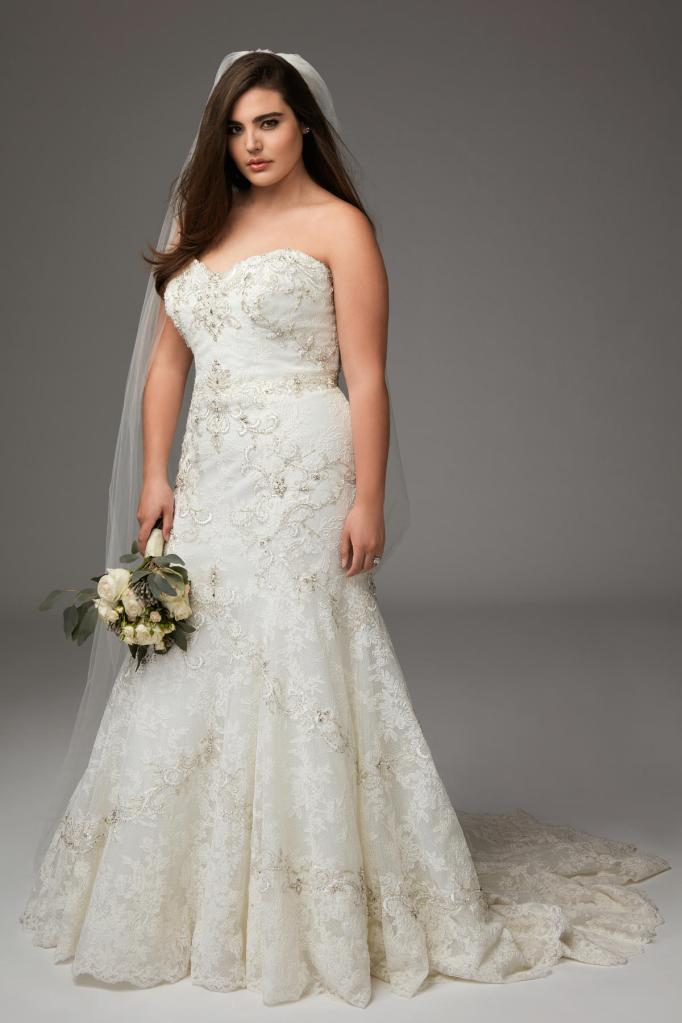 Sweetheart Fit and Flare with Gold Details Wedding Dress