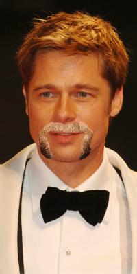 Brad Pitt with Fu Manchu
