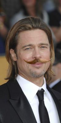 Brad Pitt with handlebar 'stache