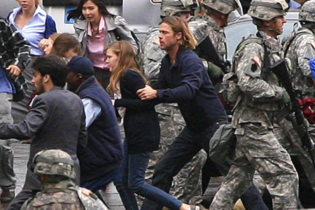 Brad Pitt on World War Z set