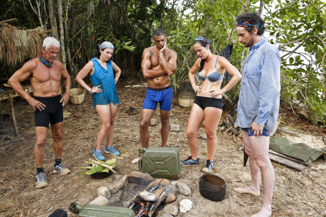 Brains tribe gathers at camp on Survivor: Kaoh Rong