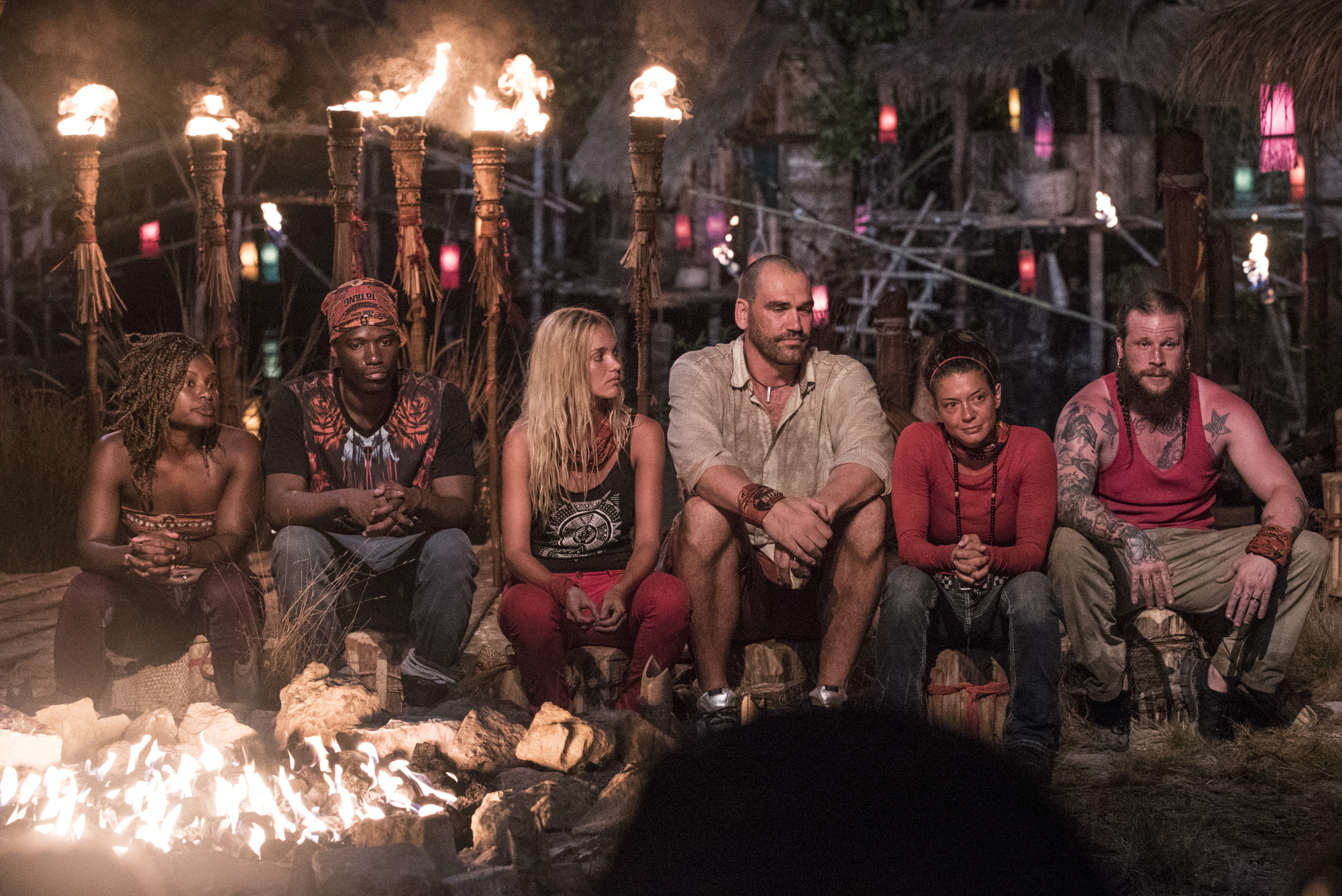 Brawn tribe at first Tribal Council on Survivor: Kaoh Rong