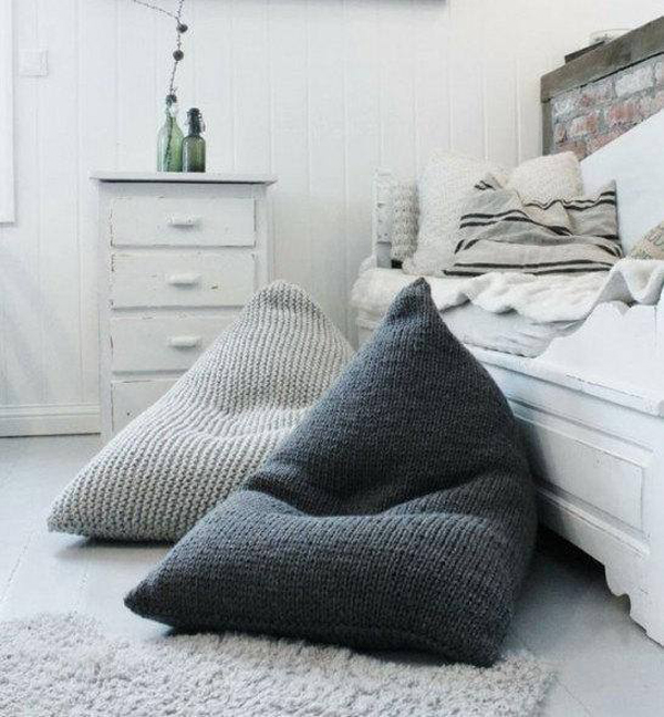 Etsy Decorating Trends: Chunky Merino Wool Grey Knitted Bean Bag | Fall Decor