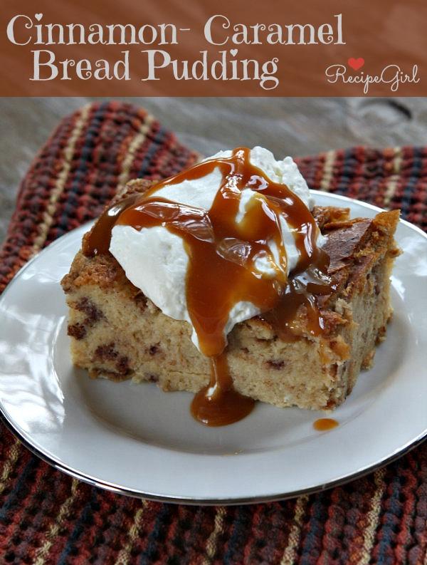 Cinnamon caramel bread pudding