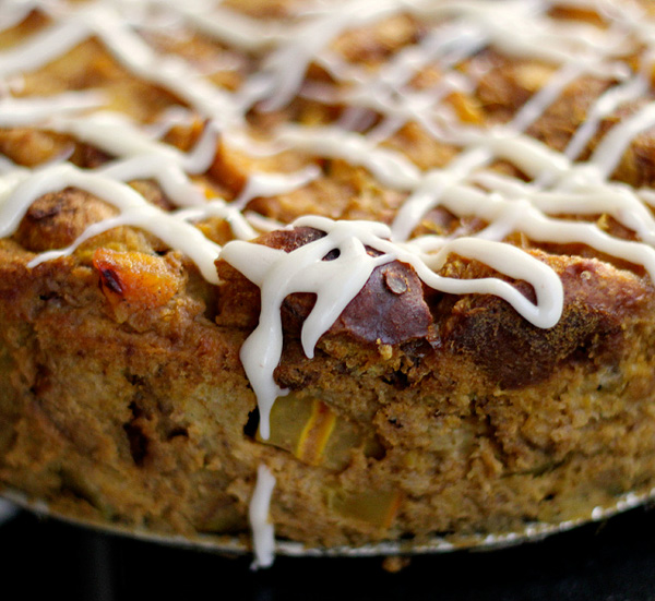 Pumpkin pie bread pudding with bourbon icing