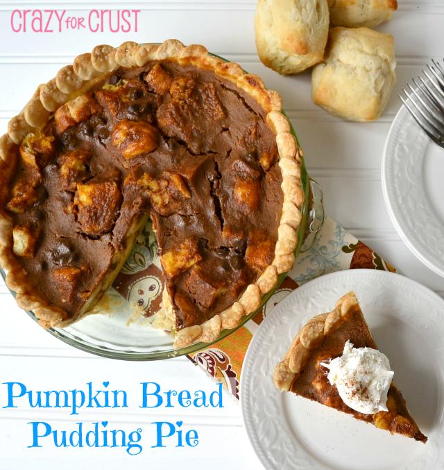Pumpkin bread pudding pie