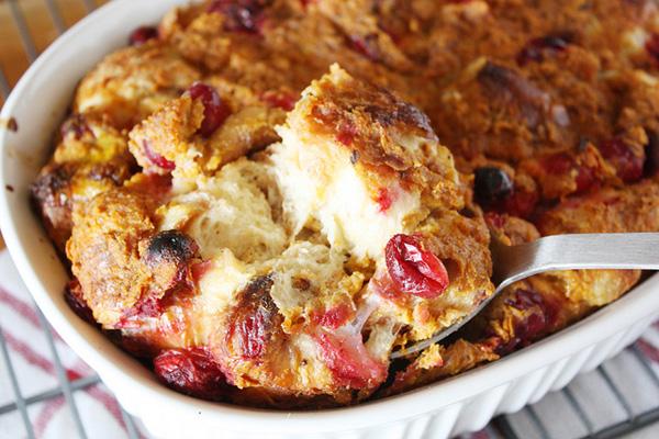 Cranberry pumpkin croissant bread pudding