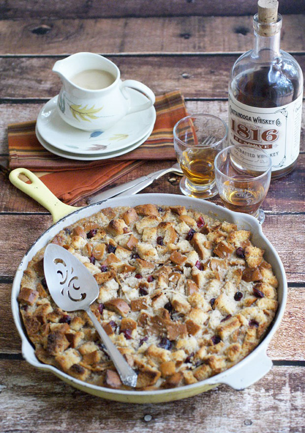 Cranberry and coconut bread pudding with whiskey sauce