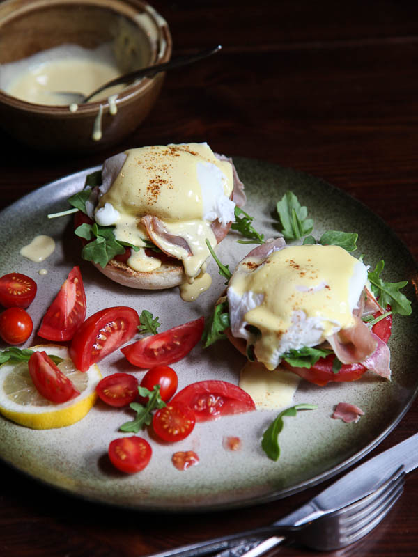 Arugula and prosciutto egg Benedict with blender Hollandaise sauce