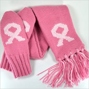 Breast cancer awareness scarf and mittens set   Sheknows.ca