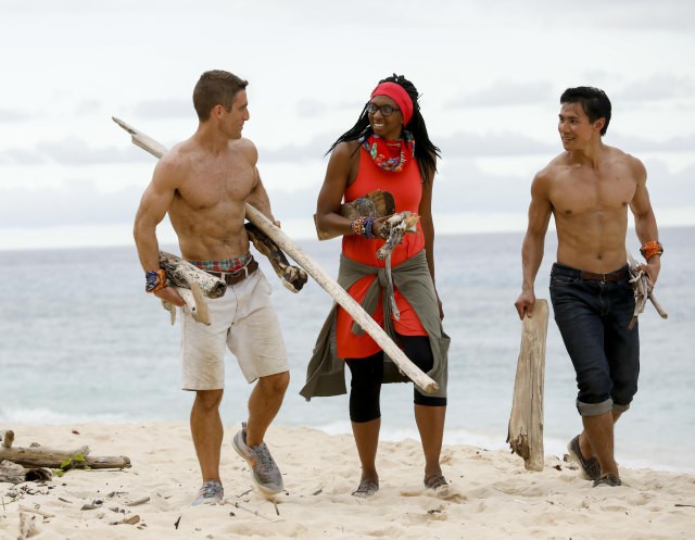Brendan Shapiro with Laurel Johnson and James Lim on Survivor: Ghost Island