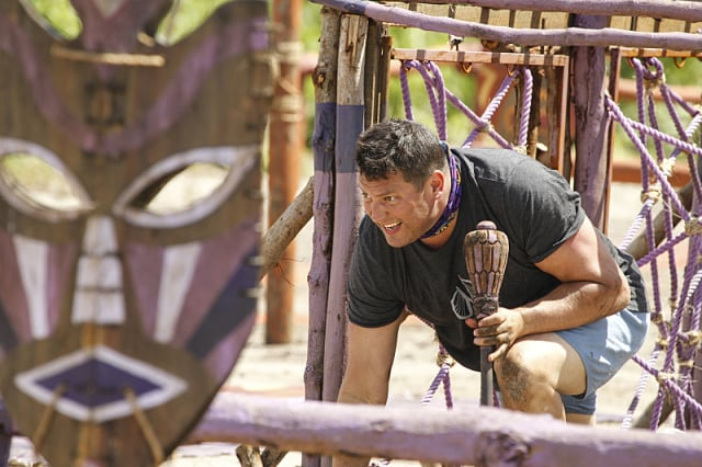 Bret LaBelle competes in challenge on Survivor: Millennials Vs. Gen-X