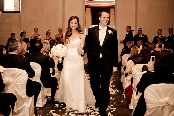 Bride and groom at wedding reception