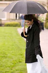 Bride in raincoat
