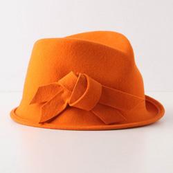 tangerine-hued fedora