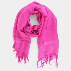 vivid pink linen scarf