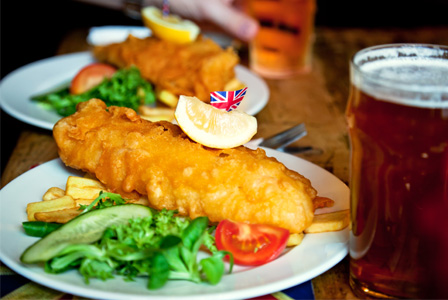 Fish and chips at Summer Olympics party