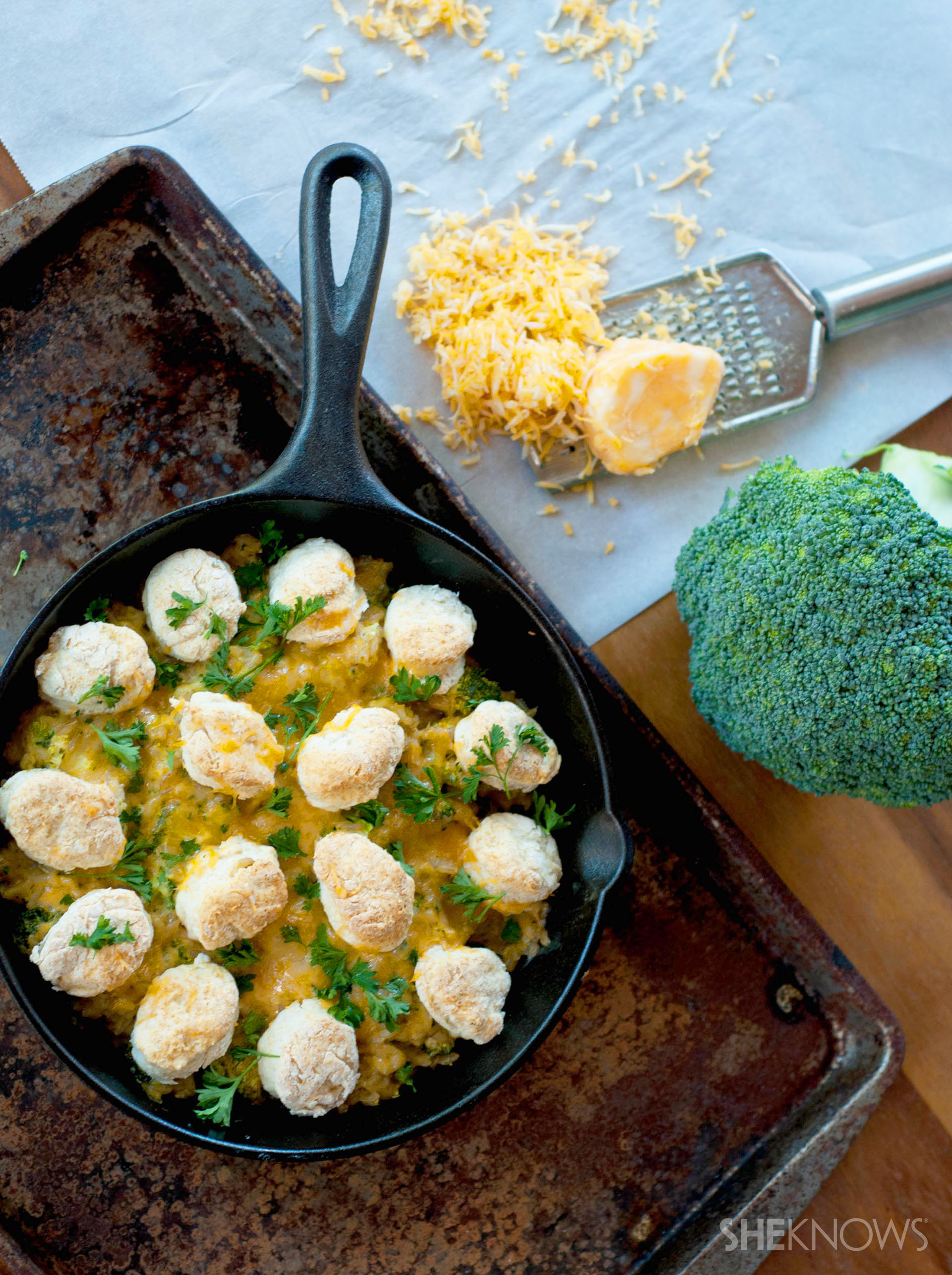Broccoli cheddar brown rice bake with biscuit crust recipe