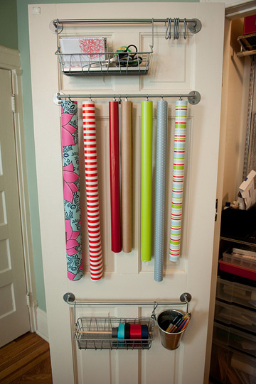 Ikea kitchen accessories work perfectly to organize your gift wrapping gear.